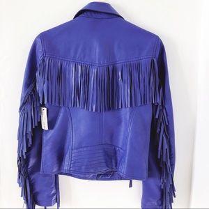 Royal Blue Faux Leather Fringe Jacket